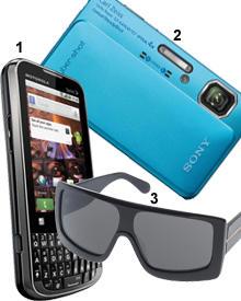 """Drei unverzichtbare Dinge für einen Modeblogger: 1. """"Android""""-Handy von Motorola. Preis nach Anfrage; 2. Digi-Cam von Sony, ca."""
