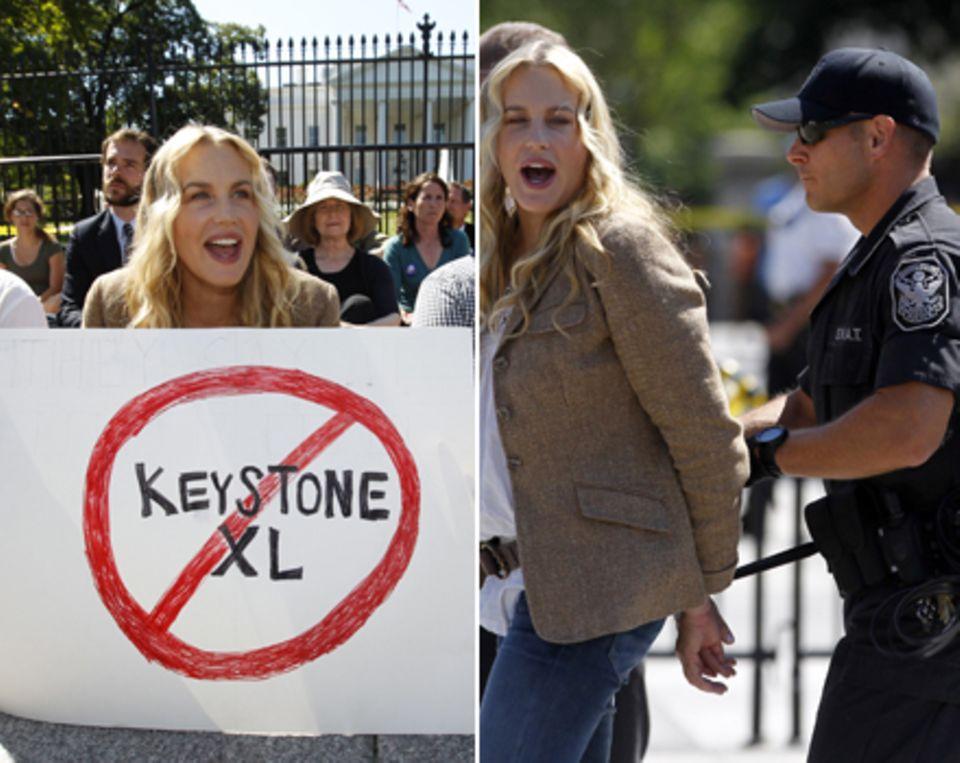 Daryl Hannah protestiert vor dem Weißen Haus gegen den Bau der Keystone XL-Pipeline und wird wenig später festgenommen.