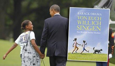 """US-Präsident Obama mit seiner jüngeren Tochter Sasha. Sein Kinderbuch """"Von euch will ich singen"""" (Hanser Verlag, 33 S., 14,90 Eu"""