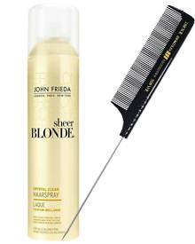 """Was Blondinen brauchen? Glanz! (""""Sheer Blonde Crystal Clear"""" von John Frieda, 250 ml, ca. 11 Euro) Vor dem Styling einfach etwas"""
