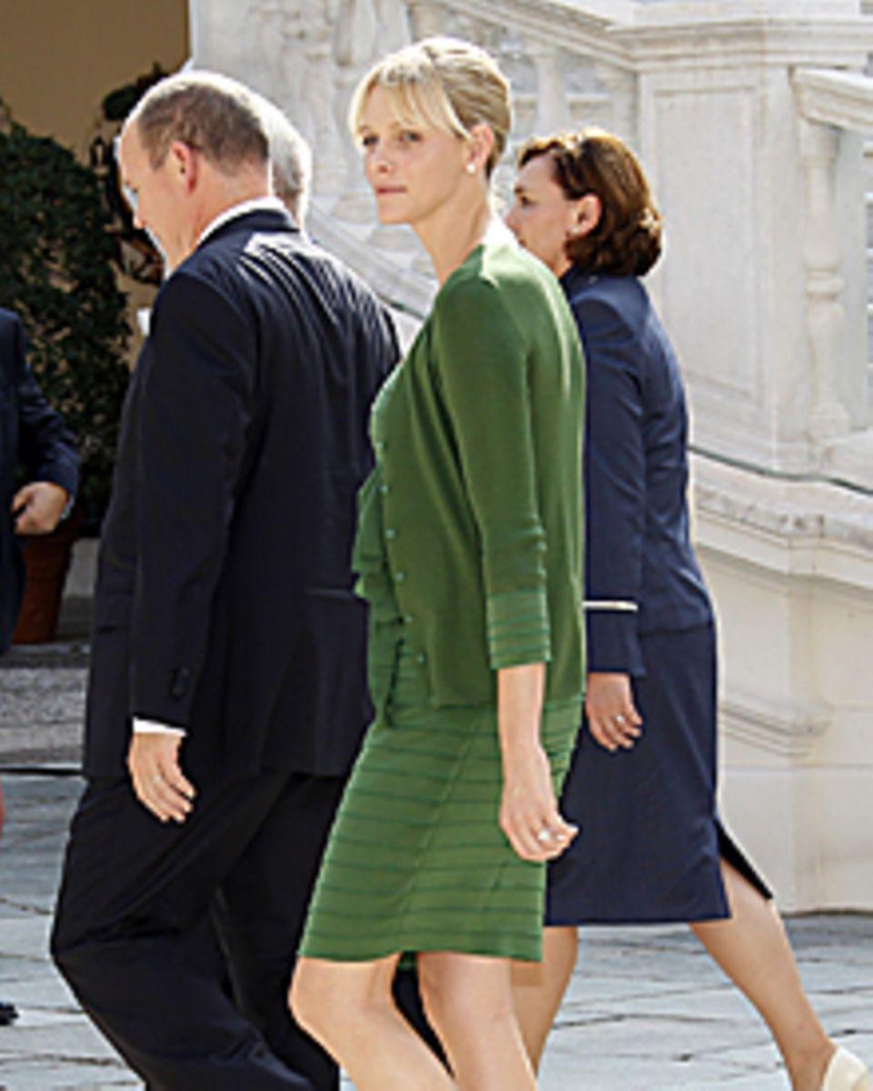 Etwas verloren wirkte Fürstin Charléne beim Staatsbesuch des kroatischen Präsidenten Anfang Oktober.