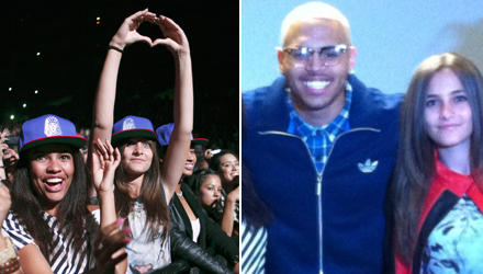 Jubeln, staunen und Herzen für ihr Idol: Paris Jackson beim Konzert von Chris Brown in Los Angeles (l.) und bei ihrem Treffen mi