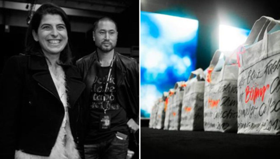 Designerin Dorothee Schumacher hinter den Kulissen der Fashion Week in Bejing. Auf den Sitzen der ersten Reihe warteten tolle Go
