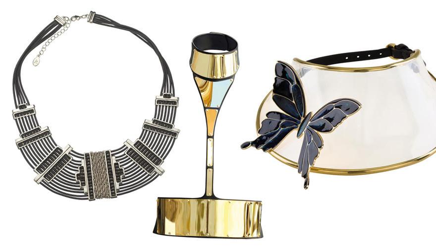 Links: Collier im Art-déco-Stil, von Accessorize, ca. 45 Euro. Mitte: Dramatische Kostbarkeit von Giuseppe Zanotti, ca. 695 Euro