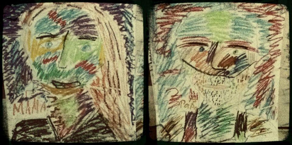 Mama und Papa: Sohn Bruno, 9, malte diese Bilder. Der Junge gilt als künstlerisch hochbegabt, wird bereits gefördert.