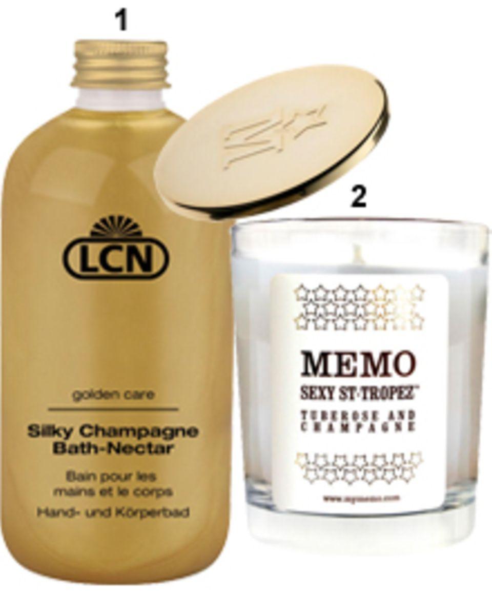 """1. Badenixen tauchen gern im """"Silky ChampagneBath-Nectar"""" ab. Von LCN, 300 ml,  ca. 21 Euro, über www.lcnforyou.de, 2. """"Sexy St-T"""