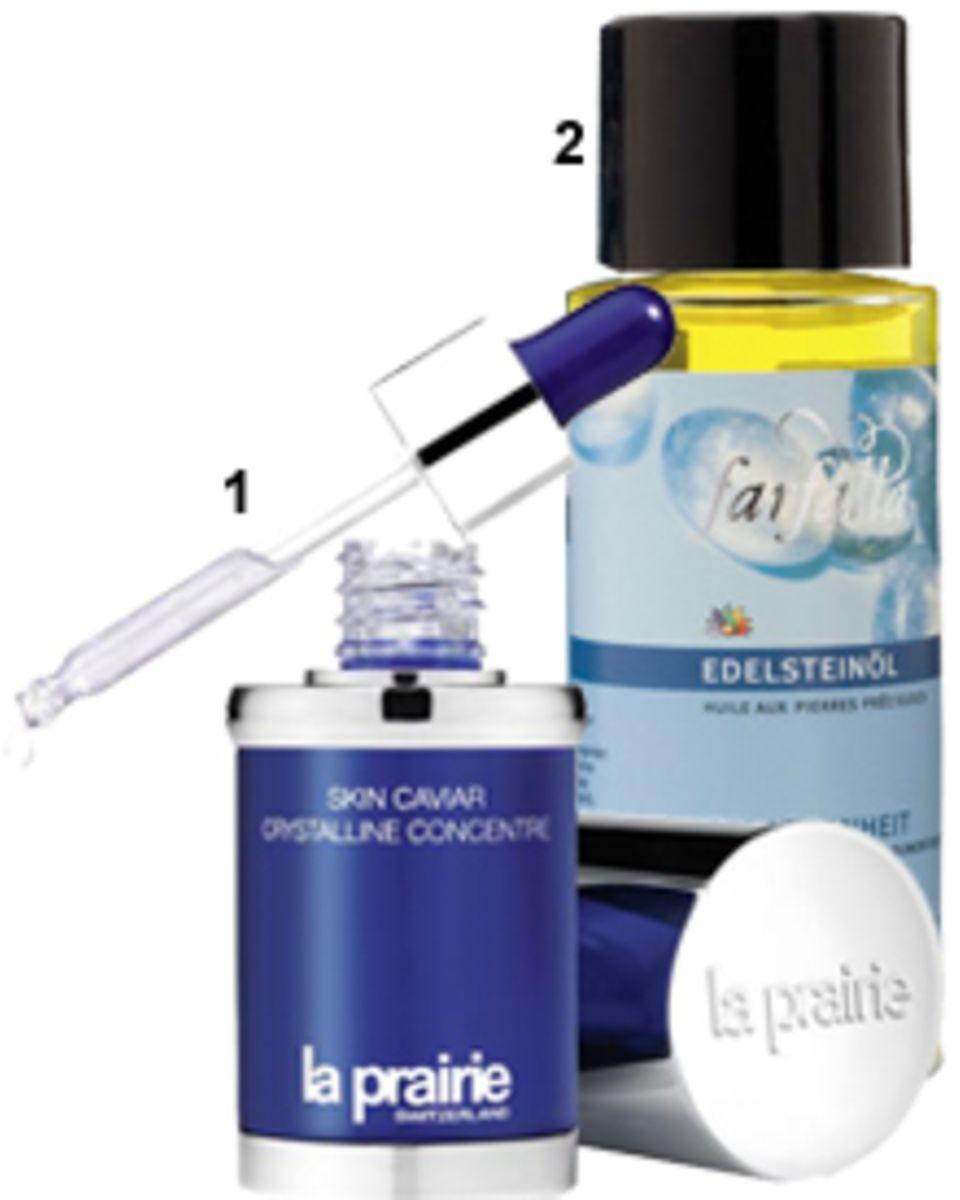 """1. Das """"Skin Caviar Crystalline Concentre"""" strafft die Haut und lässt sie dank Diamantpartikeln strahlen. Von La Prairie, 30 ml,"""