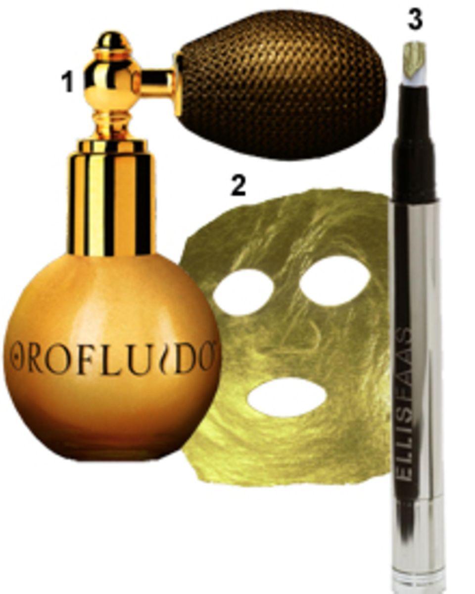 """1. """"Gold Dust""""-Goldpuder von Orofluido, im Weihnachtsset samt Haarelexier, ca. 29 Euro, 2. Die Gesichtsmaske aus purem Gold wird"""