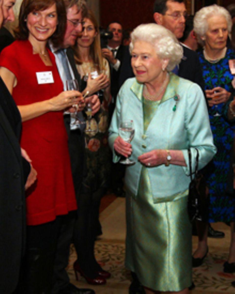 Herzogin Catherine: Queen Elizabeth II empfängt Journalisten in Buckingham Palace.