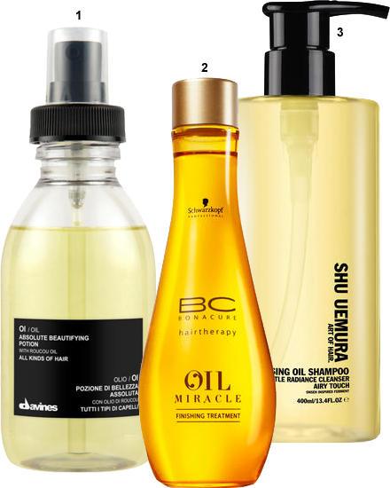 "1. ""Oi/Oil"" von Davines, 136 ml, ca. 32 Euro; 2. ""BC Oil Miracle Finishing Treatment"" von Schwarzkopf Professional, 100 ml, ca."