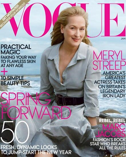 """Auf dem Cover für die Januarausgabe der amerikanischen """"Vogue"""" posiert Meryl Streep natürlich und souveran."""