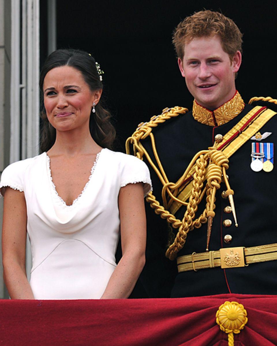 Die kleinen Geschwister des Brautpaares, Pippa und Prinz Harry, verstehen sich bestens.