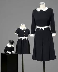 Rena Langes limitierte Bubikragen-Capsule-Collection aus Seide und Tweed für den Vierbeiner in Signature-Schwarz-Weiß stimmt sch