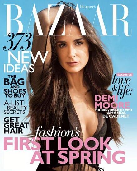 """Auf dem """"Harper ?s Bazaar""""-Cover sieht Demi Moore makellos schön aus, im Interview zeigt sie dann ganz offen ihre Schwächen."""