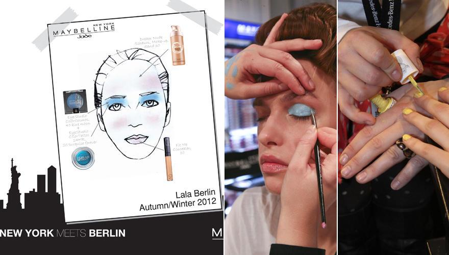 """Der Make-up-Look für Leyla Piedayeshs Label """"Lala Berlin"""" kombiniert expressives Türkis (Color Tattoo 24H Turquoise Forever von"""