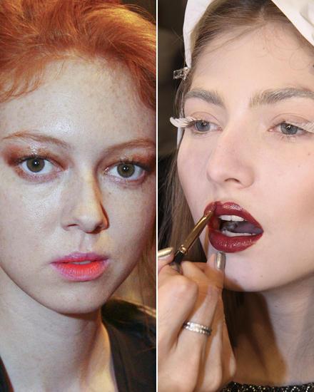 Filtereffekt: Lippenstiftfarben mit den Fingern auftupfen. Expressive Lippen in Bordeaux und Engelswimpern für Kaviar Gauche.