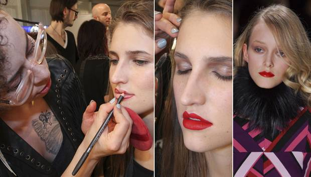 Ladylike und elegant wie bei der Schau von Rena Lange können Statement Lips getragen werden oder aber als modisches Highlight zu