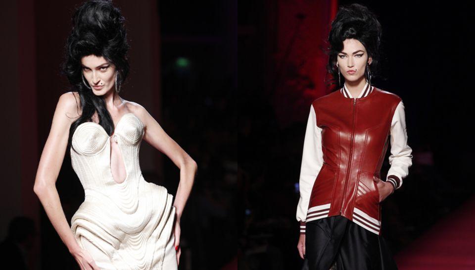 Den 50er-Jahre-Look, den Amy Winehouse trug, kombiniert Jean Paul Gaultier mit seinen typischen Bustier-Kleider.