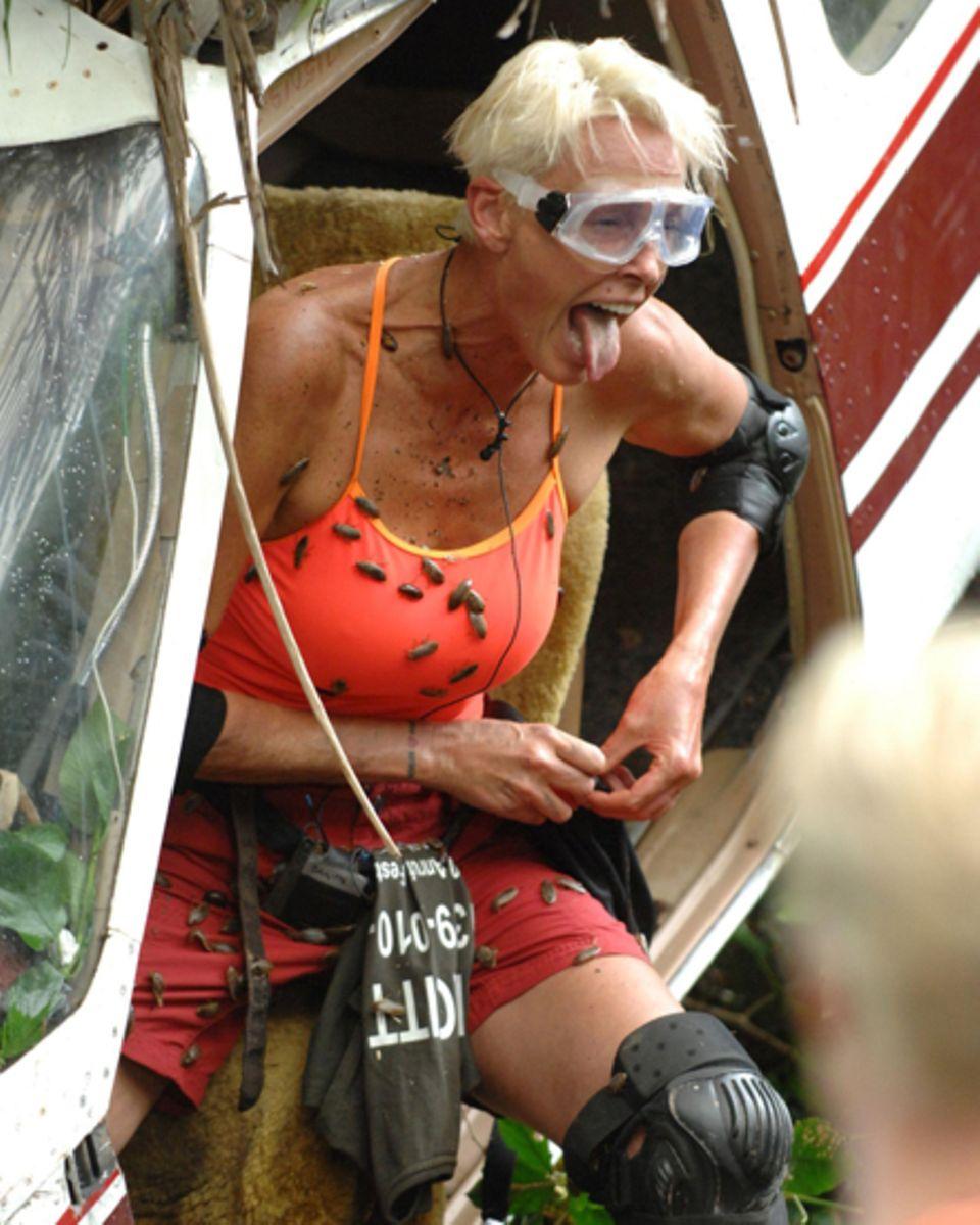 """""""Tante Brigidde"""" muss bei einer Dschungelprüfung die zwischen Fischabfällen und Kakerlaken versteckten Sterne aus einem Flugzeug"""