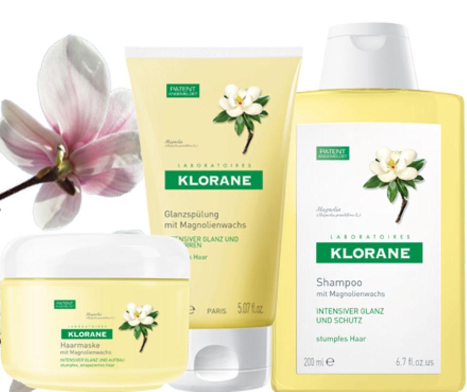Editieren  Intensiv strahlender Glanz: Mit Haarmaske Magnolienwachs, 150 ml, ca. 15 Euro, Klorane Pflegespülung Magnolienwachs, 1