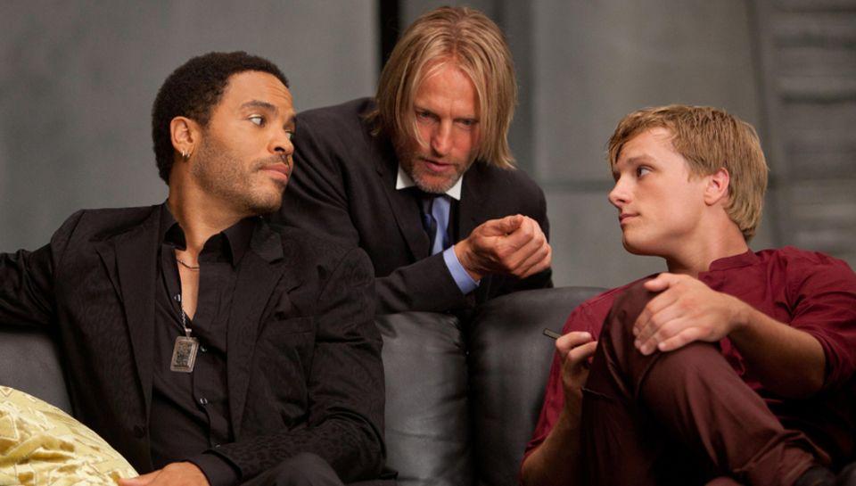 """Lenny Kravitz, Woody Harrelson und Josh Hutcherson in """"Die Tribute von Panem""""."""