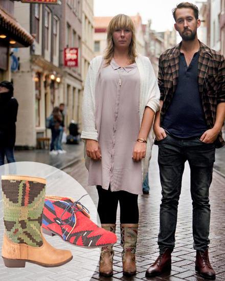 Jovanna Kruitbosch und Martijn Lugtigheid verarbeiten Perserteppiche zu Schuhwerk. Schnürschuh, ca. 150 Euro, Stiefel, ca. 180 E