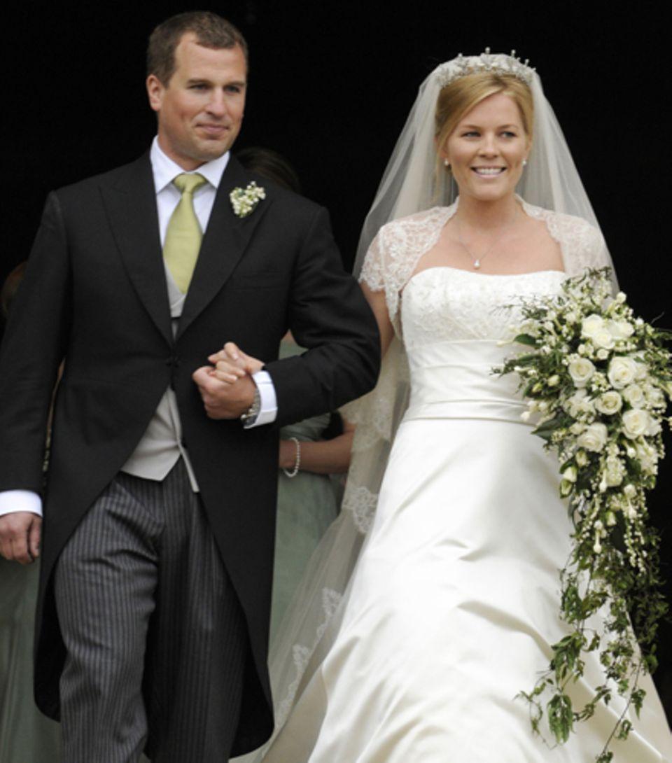 Queen-Enkel Peter Phillips bei seiner Hochzeit mit Autumn im Jahr 2008. Die beiden sind nun zum zweiten Mal Eltern geworden.