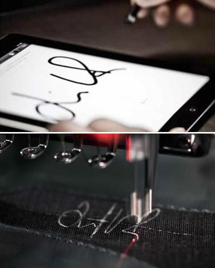 Die Unterschrift des Kunden wird digitalisiert und anschließend in den Anzug gestickt.