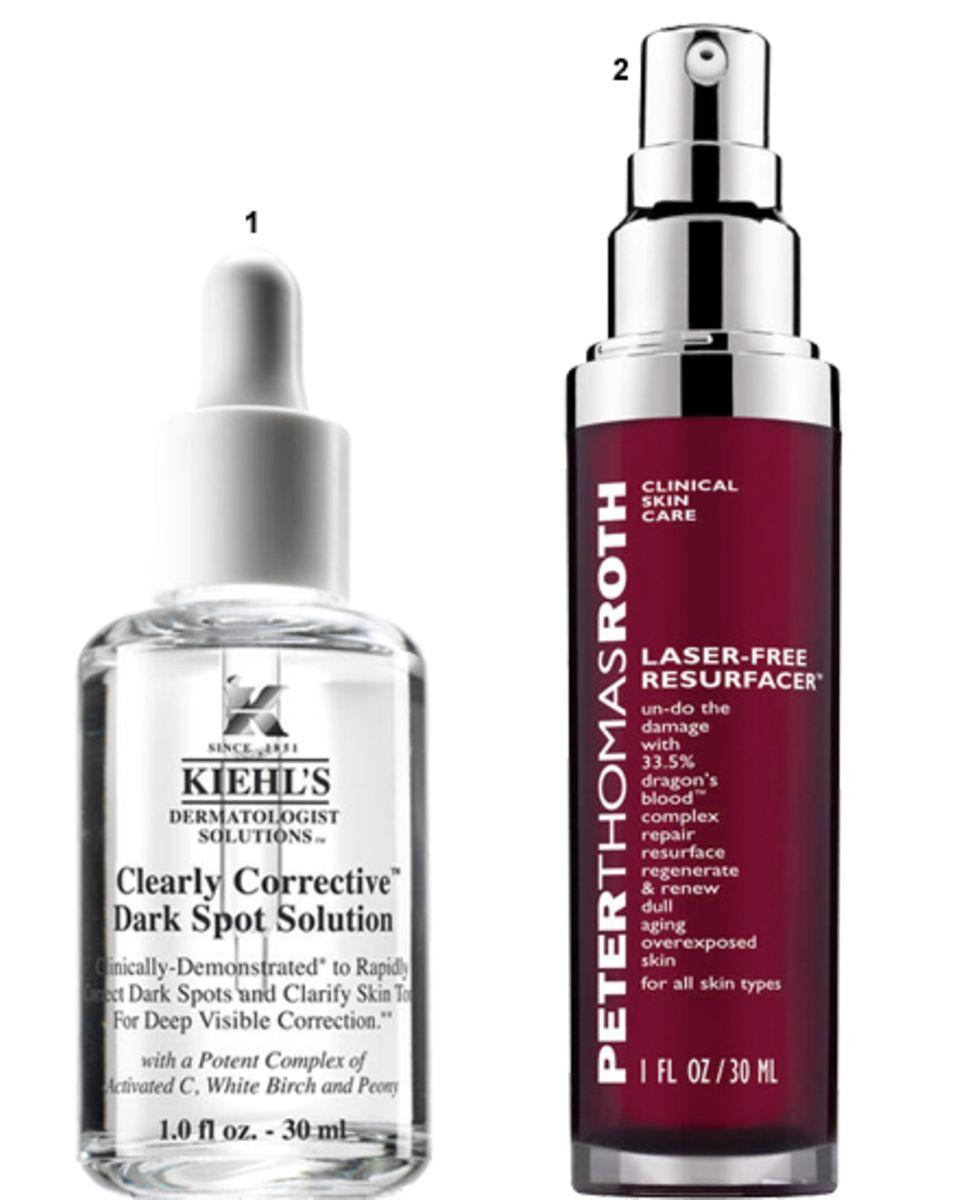 """1. """"Clearly Corrective Dark Spot Solution"""" von Kiehl's, 30 ml, ca. 45 Euro;   2. """"Laser Free Resurfacer"""" von Peter Thomas Roth, 3"""