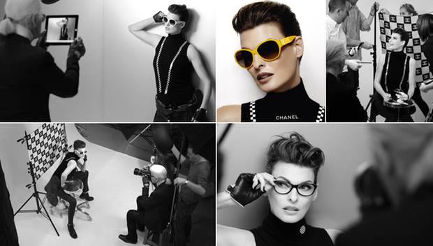 """Einmal Megamodel, immer Megamodel: Gekonnt posiert Linda Evangelista vor der Kamera von Karl Lagerfeld mit Sonnenbrillen der """"Co"""
