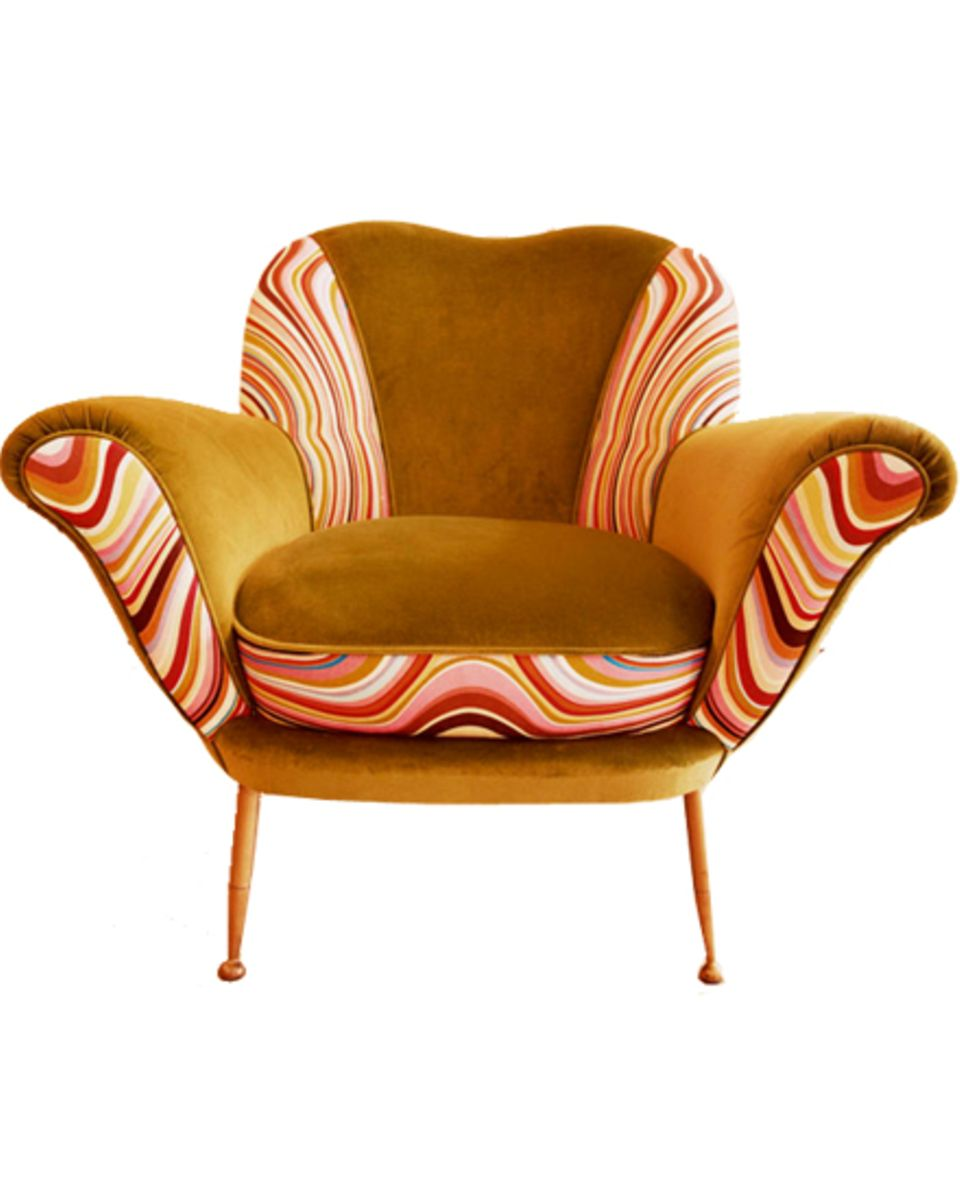 Ein Sessel-Oldie, von Paul Smith mit der psychedelischen Version seiner Streifen verziert.