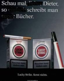 """Mit diesem Plakat machte sich """"Lucky Strike"""" über Dieter Bohlen lustig."""