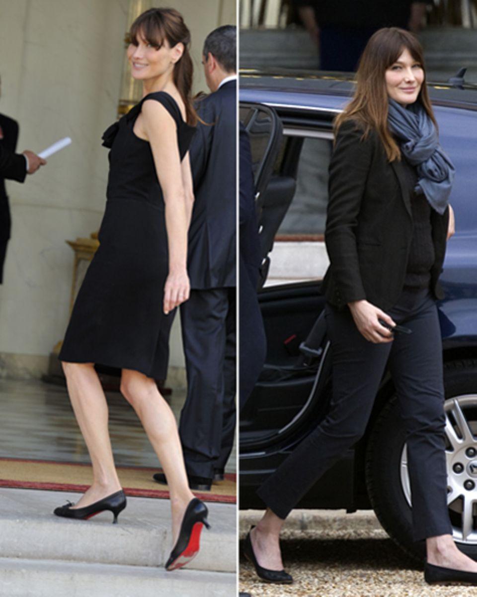 """Ihre Verwandlung: Elegant, sexy und weltgewandt - So präsentierte Carla Bruni sich anfangs als """"Première Dame"""". Nach wachsender"""