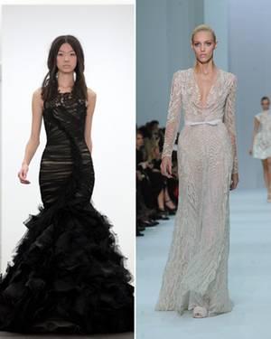 Black vs White: Zwar hat Angelina ein Faible für Schwarz,(Vera Wang) aber ob sie ihre dunkle Seite ausgerechnet am Hochzeitstag