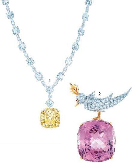 """1. Der größte gelbe Diamant der Welt, """"The Tiffany Diamond"""". 2. """"Der Bird on a Rock""""-Clip mit großem roasa Kunzit."""