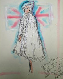 Zeichnung mit Hofknicks: Her Majesty, Queen Elizabeth II, wie Modeschöpfer Karl Lagerfeld sie zum 60. Thronjubiläum gern gesehen