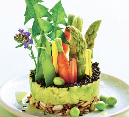 Bunte Crudités auf Avocado-Wasabi-Creme