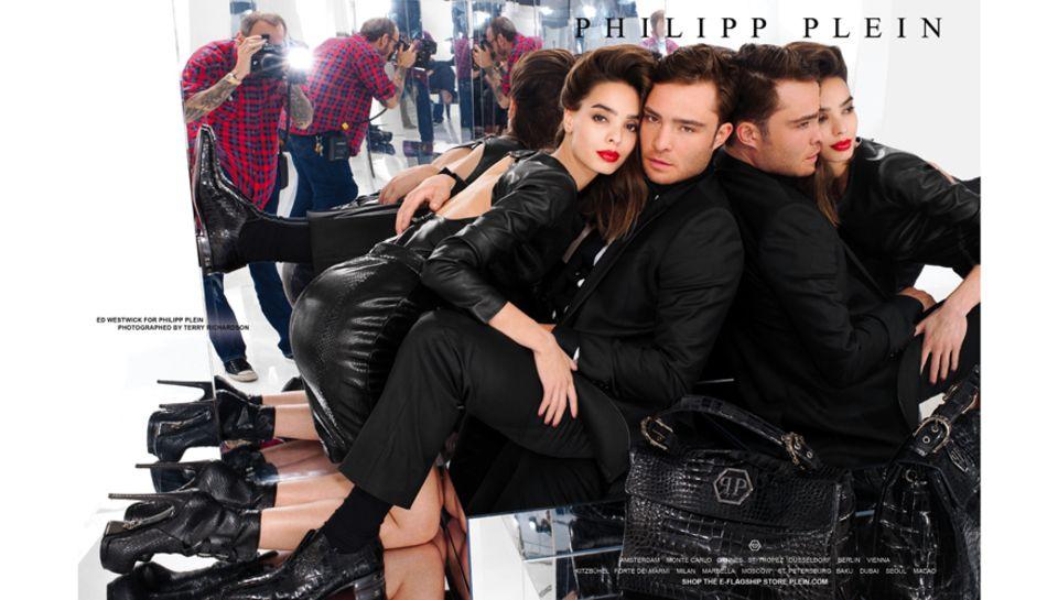 """Nach """"K-Swiss"""" stellte Schauspieler Ed Westwick nun für """"Philipp Plein"""" seine Qualitäten als Model unter Beweis."""