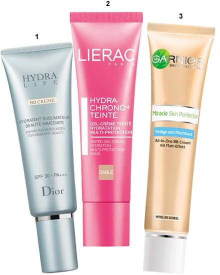 """1. Gegen erste Fältchen: """"Hydra Life BB Cream"""" von Dior, 50 ml, ca. 54 Euro. 2. """"Hydra- Chrono Teinté"""" von Lierac, 30 ml, ca. 24"""