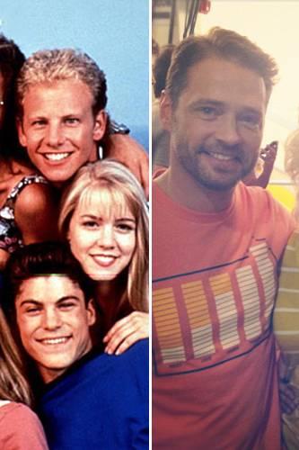 Wiedervereint: Jason Priestley, Jennie Garth und Luke Perry damals und heute.