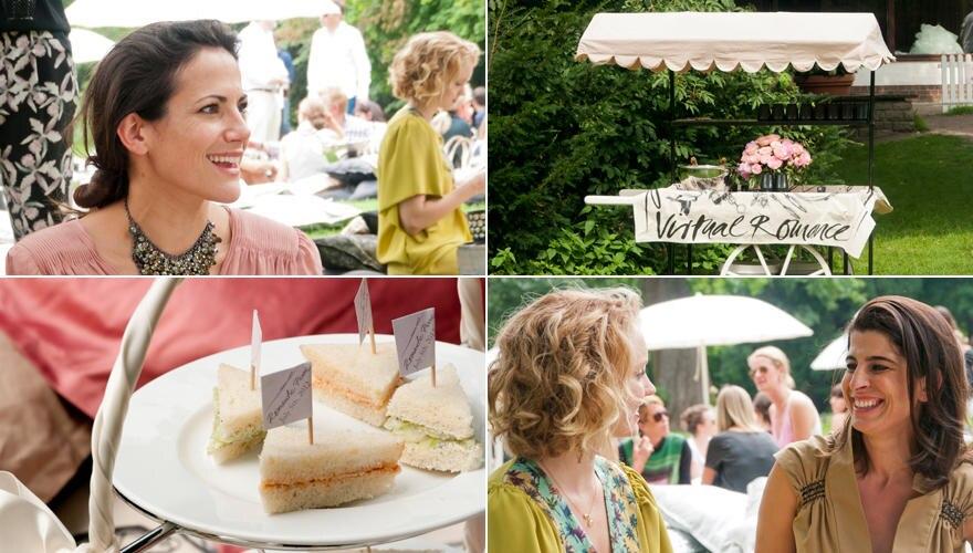 Bettina Zimmermann, Lily Cole und Chefdesignerin Dorothee Schumacher genossen nach der Show ein sommerliches Picknick im Berline