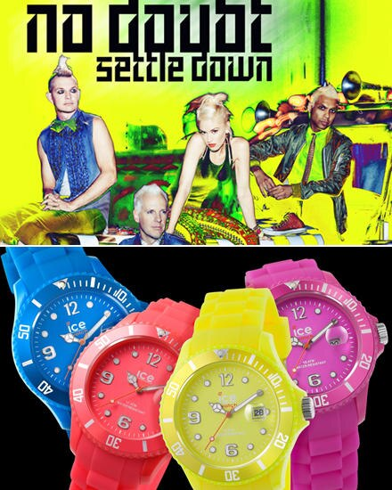 """Neon ist unsere Lieblingsfarbe - findet Gwen Stefanis Band """"No Doubt"""".  Im Video zur neuen Single """"Settle Down"""" tragen die Vier"""