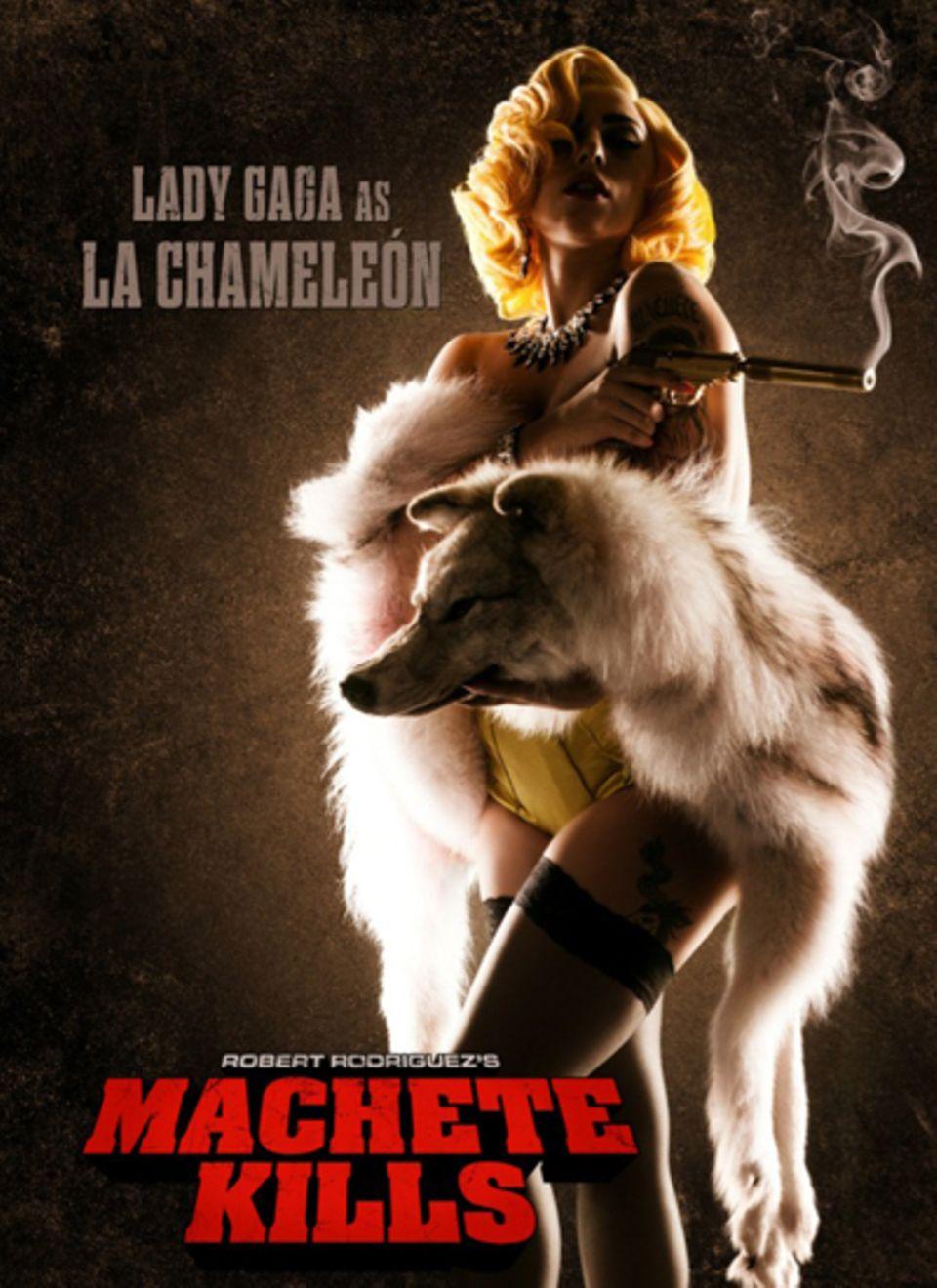 """Lady GaGa posiert auf dem Filmposter von Robert Rodriguez """"Machete Kills"""" als """"La Chameleón""""."""