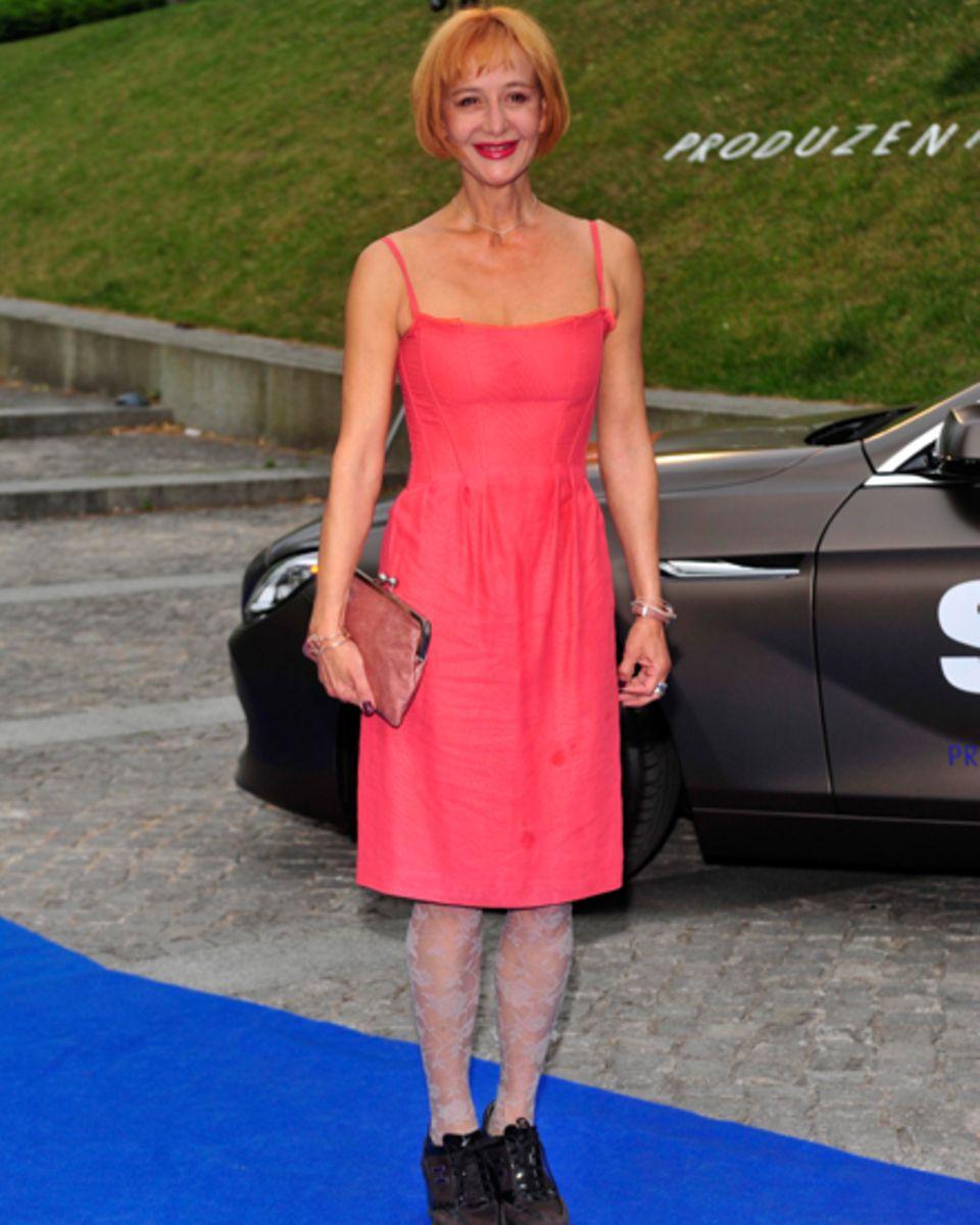 Ihre Farbe: Bei offiziellen Anlässen griff sie gern zum roten Kleid: Susanne Lothar beim Produzentenfest in Berlin, Juni 2012.