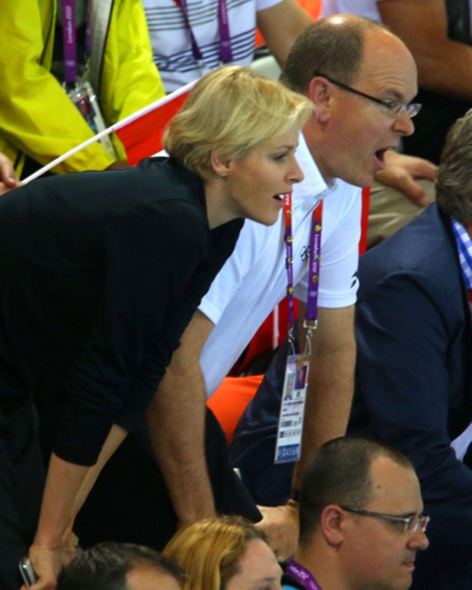Fürstin Charlène und Fürst Albert fiebern bei den Olympischen Spielen in London mit.
