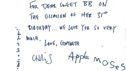 Gwyneth Paltrow und ihre Familie gratulieren Beyonce zum Geburtstag.