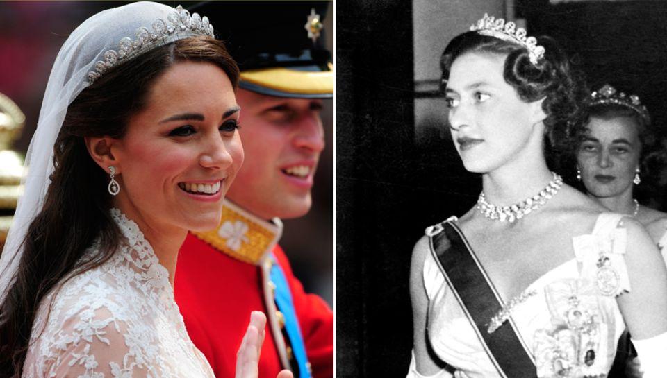 """""""Halo""""-Tiara: 2011 trug Catherine Middleton die """"Glorienschein""""-Tiara zu ihrer Hochzeit mit Prinz William. Cartier fertigte sie"""