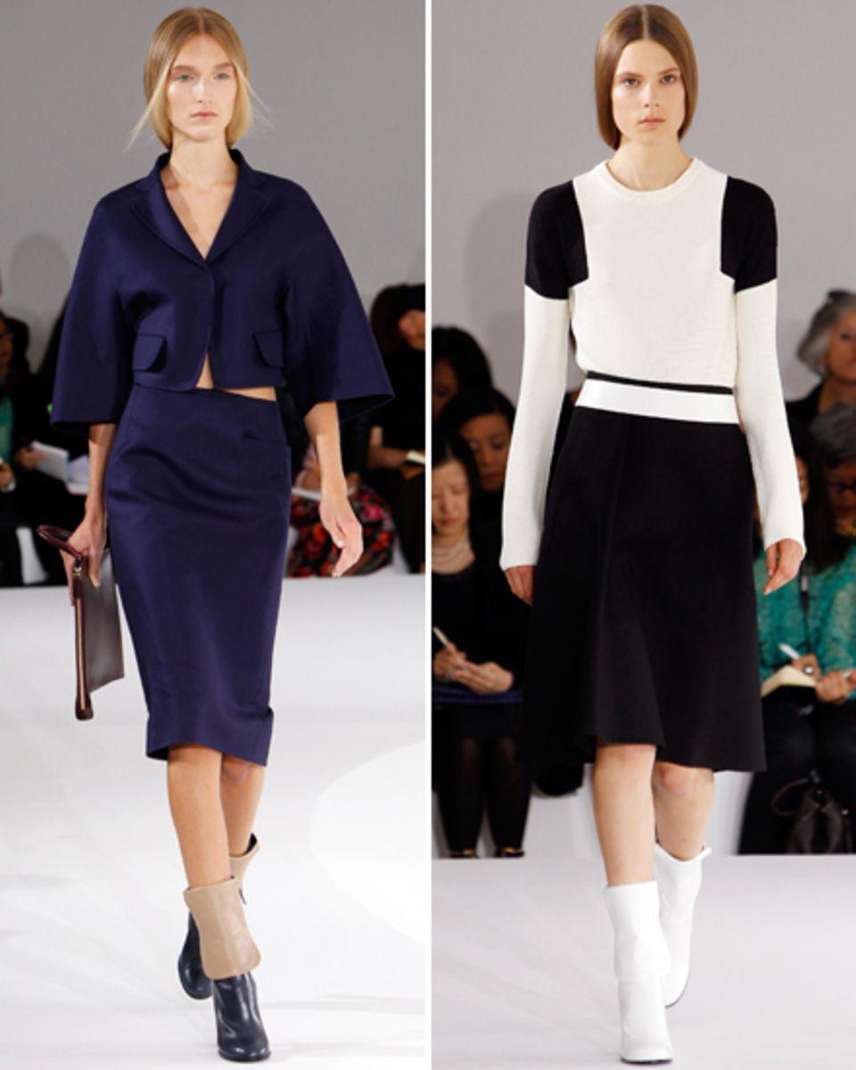 Perfekt geschnittene Outfits aus besten Materialien sind Sanders Markenzeichen. Bei ihrem Comeback setzte sie auf neue Silhouett