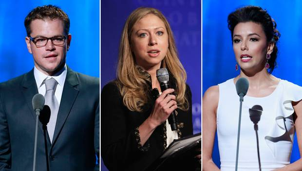 Matt Damon, Chelsea Clinton und Eva Longoria setzten ihren Bekanntheitsgrad für den guten Zweck ein.