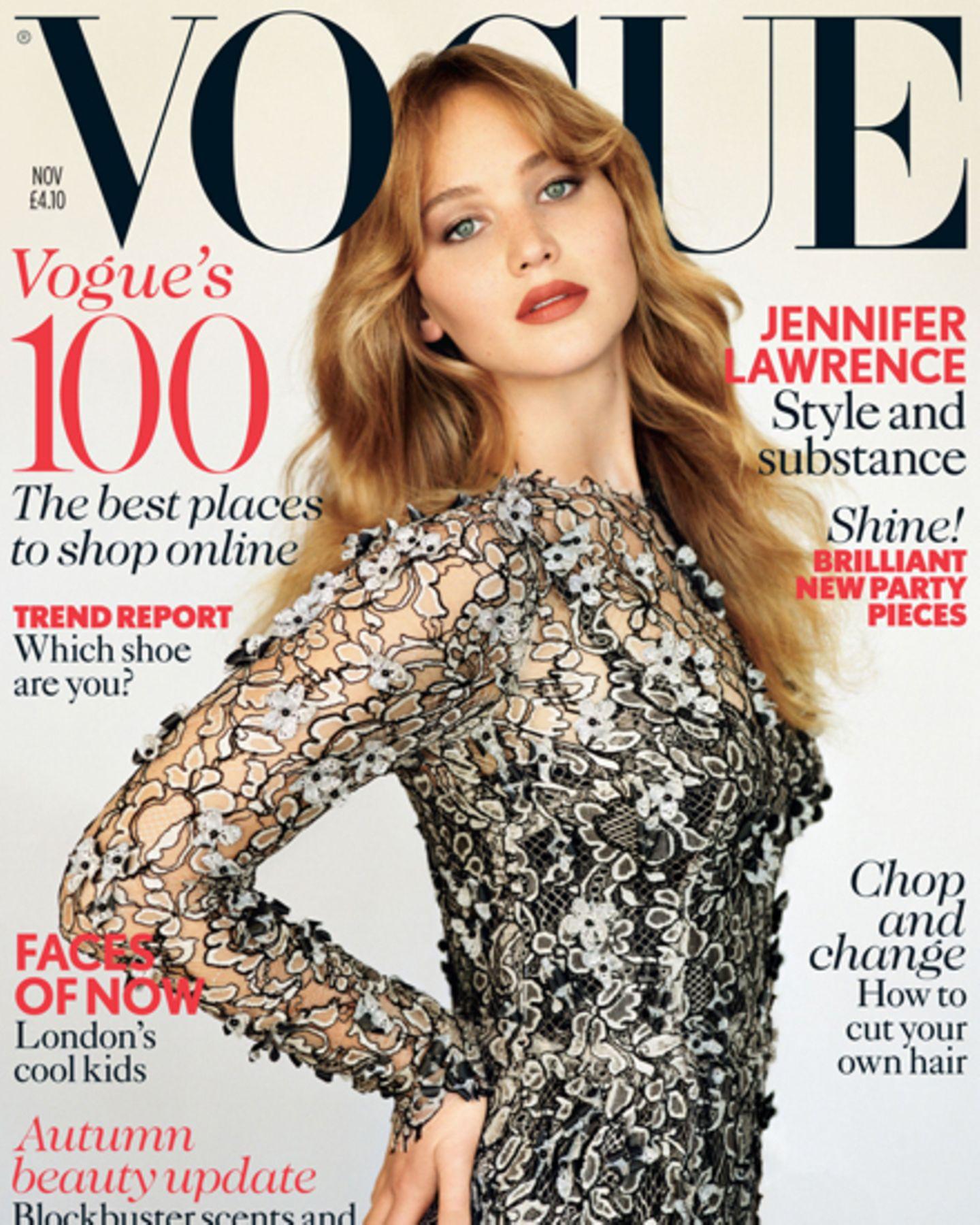Jennifer Lawrence auf dem Cover der britischen Vogue.